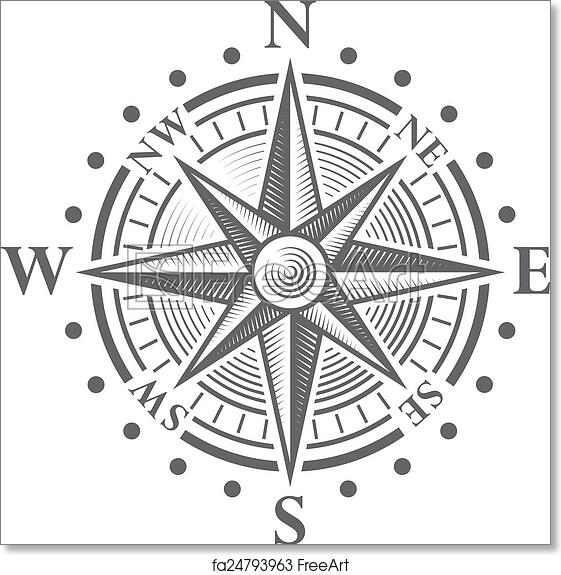 photograph regarding Picture of a Compass Rose Printable known as Cost-free artwork print of Vector Comp Rose