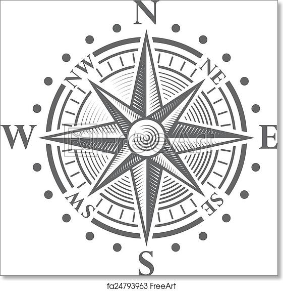 photograph relating to Printable Compass identify Cost-free artwork print of Vector Comp Rose