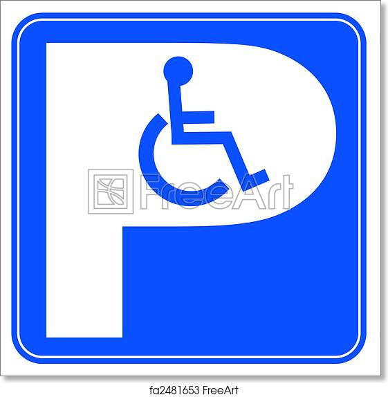 picture regarding Printable Handicap Sign called Free of charge artwork print of Blue handicap parking or wheelchair parking spot indicator