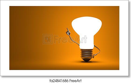 Free art print of Light bulb character in aha moment
