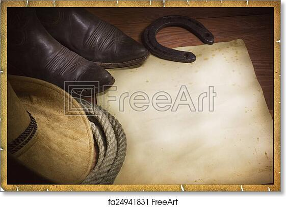 Free art print of Rodeo cowboy background with western hat and lasso ... 1ddb677d4ac