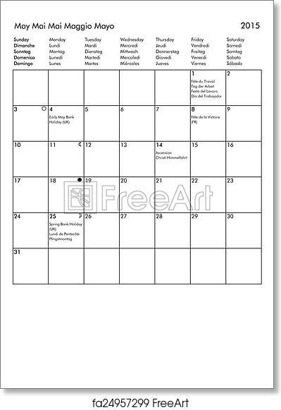 Free art print of 2015 Calendar - May