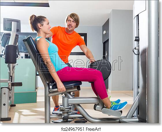 free art print of hip abduction woman exercise at gym closing hip