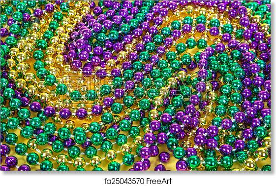 Free Art Print Of Colorful Mardi Gras Beads Background