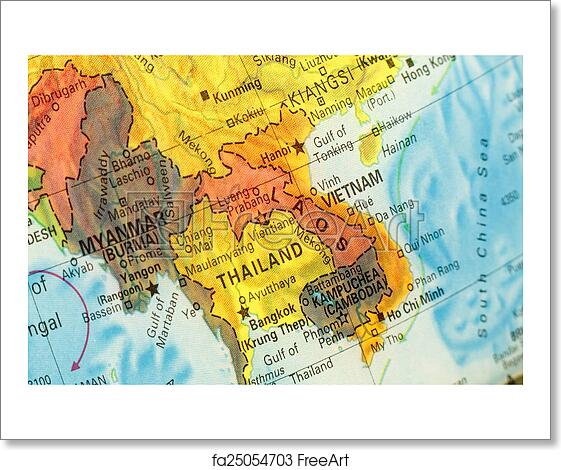 Free Art Print Of Map Of Thailand Vietnam And Laos Close Up Image