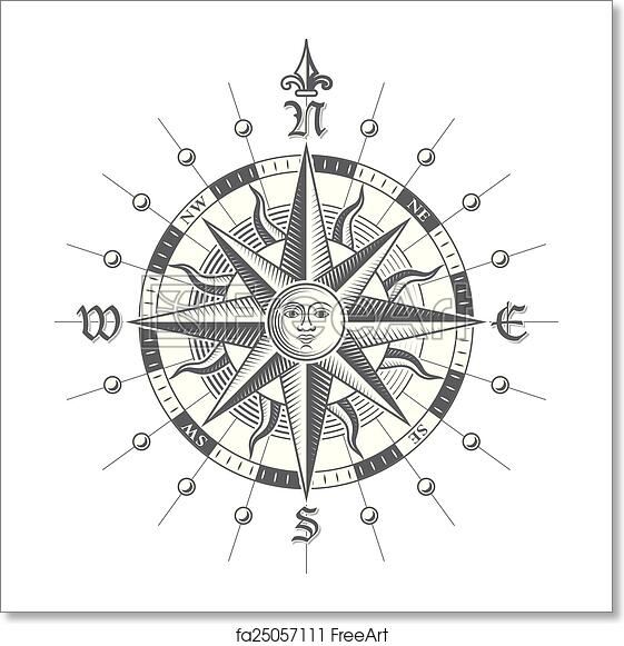 Free Art Print Of Vector Compass Rose Illustration Of A Vector Hi