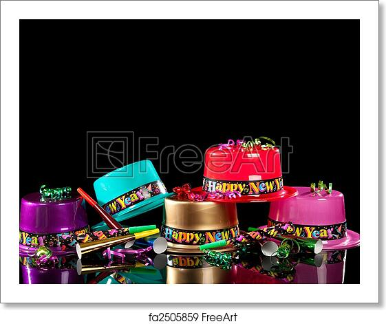 free art print of new years eve party hats on black background