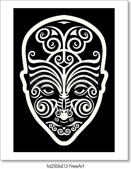 5152d2d20 Free art print of Maori face tattoo. Stylized maori face tattoo moko ...