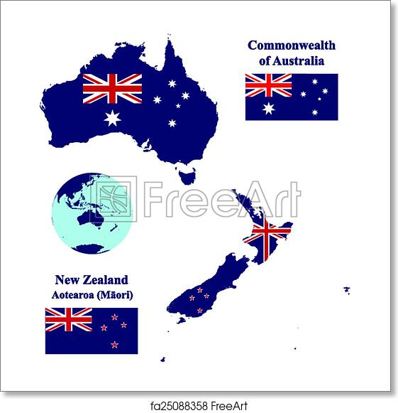 Australia Map With Flag.Free Art Print Of Australia And New Zealand Map Flag