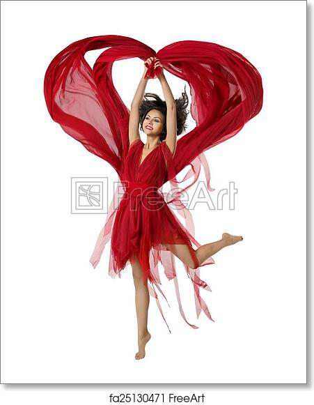 e06080eb38cd3 Woman Dancing With Heart Shaped Fabric Cloth, Beautiful Girl in Red Dress  Waving On Wind. Isolated Over White Background. The FreeArt ...