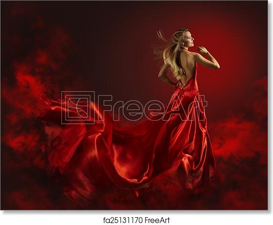 b72eb25ba8b96 Free art print of Woman in Red Dress, Lady Fantasy Gown Flying and Waving,  Hair Bl | FreeArt | fa25131170