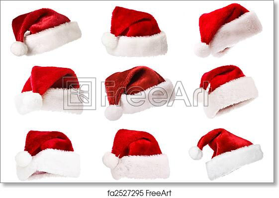 picture about Printable Santa Hat identify Totally free artwork print of Mounted of Santa hats isolated upon white
