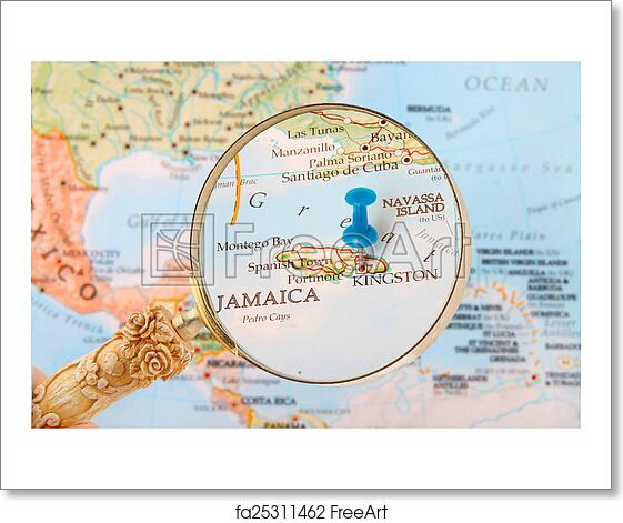 Free art print of Kingston, Jamaica map. Blue tack on map of ...