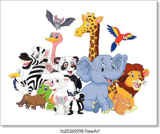 Free Art Print Of Cartoon Wild Animals Background