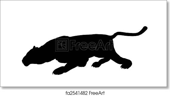 free art print of panther illustration silhouette black panther art
