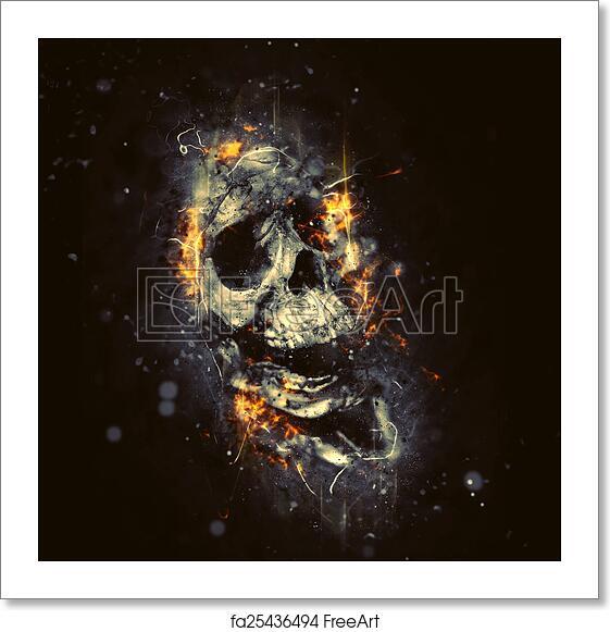 Free Art Print Of Skull In Flames. Skull In Flames As