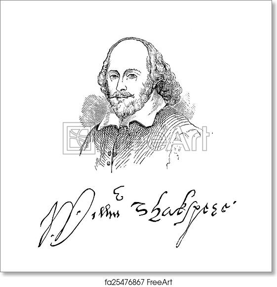 Free art print of William Shakespeare. An engraved