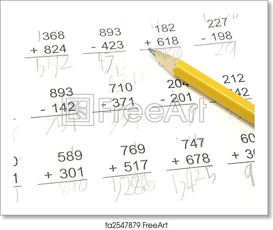 Free art print of Math Test. 3rd grade math problems with pencil on ...