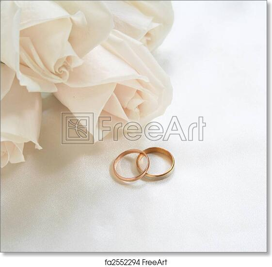 Free Art Print Of Wedding Rings And Roses As Background Wedding
