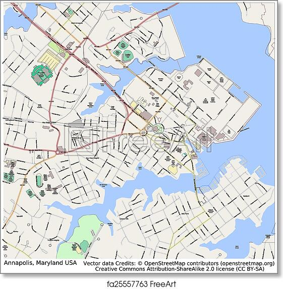 photograph regarding Printable Map of Maryland identified as Free of charge artwork print of Annapolis Maryland United states metropolis map