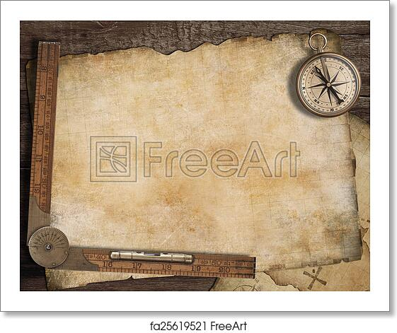 Free Art Print Of Blank Treasure Map Background With Old Compass And Ruler Adventure Concept
