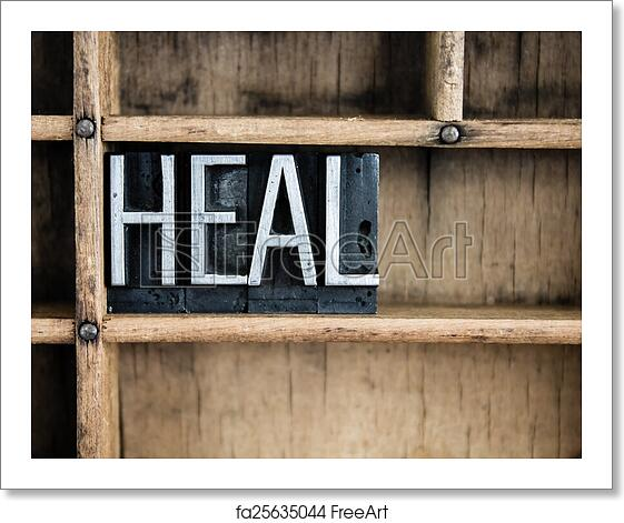 Free art print of Heal Concept Metal Letterpress Word in Drawer