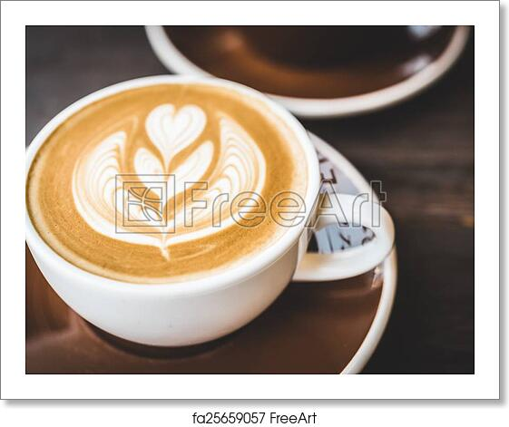 Free Art Print Of Latte Coffee Cup. Soft Focus On Latte