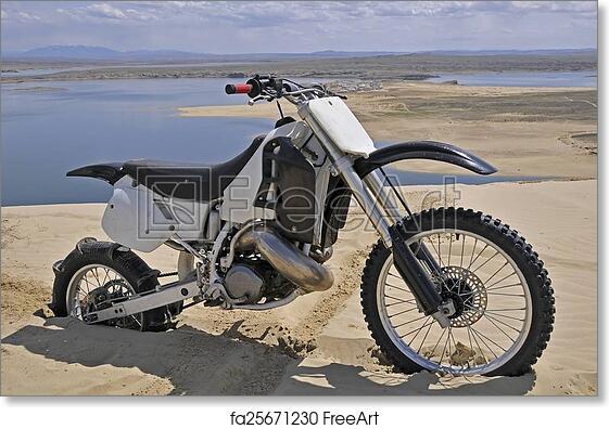 Free art print of Dirtbike burried in sand