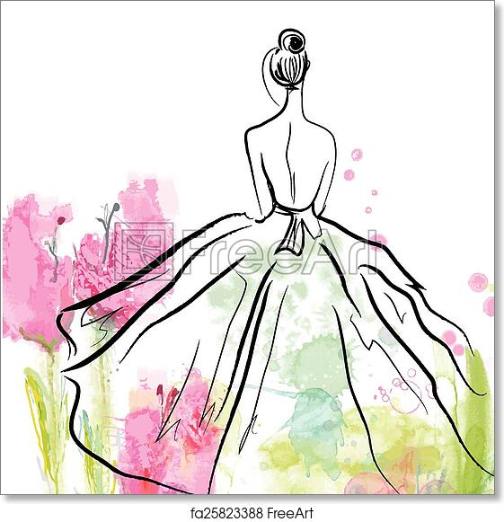 Free Art Print Of Fashion Girl In Beautiful Dress Sketch On The Floral Background