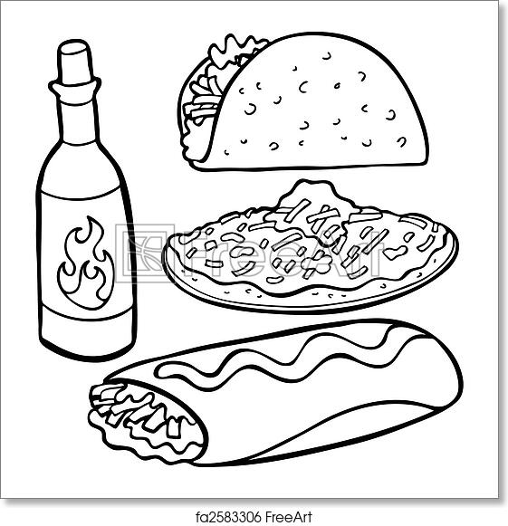 Line Art Food : Free art print of mexican food items line