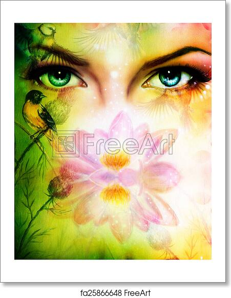 Free Art Print Of Color Painting Pair Of Beautiful Blue Women Eyes
