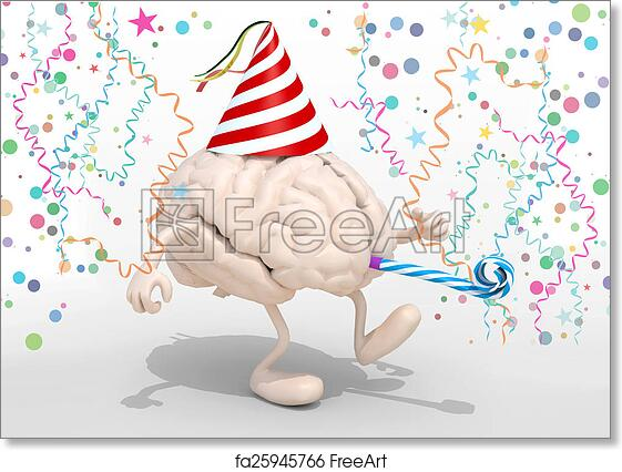 photo about Brain Hat Printable named Absolutely free artwork print of Intellect with fingers, legs, get together cap and blowers