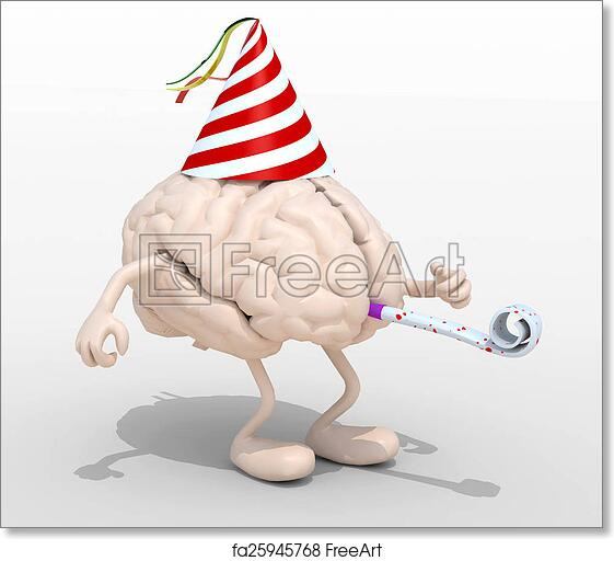 image relating to Brain Hat Printable known as Cost-free artwork print of Mind with palms, legs, celebration cap and blowers