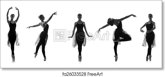 Free Art Print Of Set Of Different Ballet Poses Black And White Traces Isolated O Freeart Fa26033528