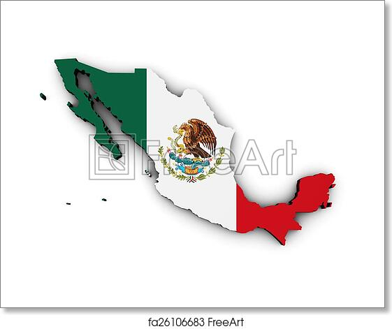 Free Art Print Of Mexico Flag Map Shape 3d Of Mexico Map With