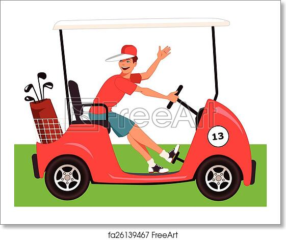 Free Art Print Of Caddy In A Golf Cart Young Guy Driving A Golf Cart With A Bag Of Clubs On It Smiling And Waving Vector Cartoon No Transparencies Eps 8