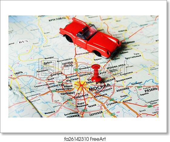 Free art print of Moscow , Russia map car. Close up of Moscow ...