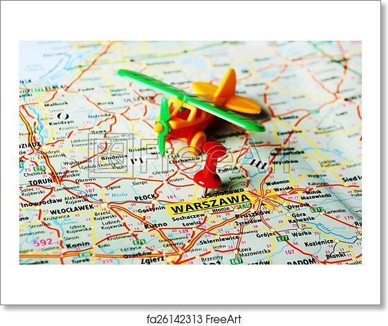 Free art print of Warszawa ,Poland map airplane. Close up of Warsaw ...