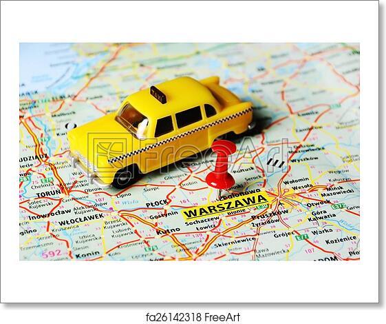 Free art print of Warszawa ,Poland taxi map. Close up of Warsaw ...
