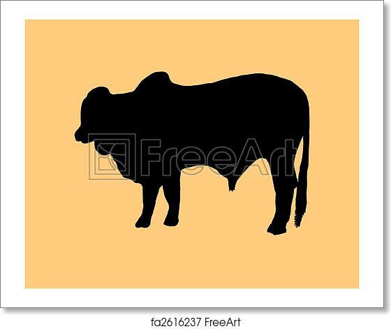 Free Art Print Of Silhouette Of Brahman Bull Beef Cattle Breed