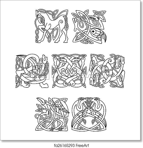 free art print of square decorative celtic motifs of animals and