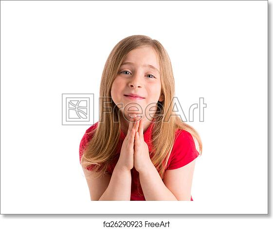 Free Art Print Of Blond Kid Girl Praying Hands Gesture In White