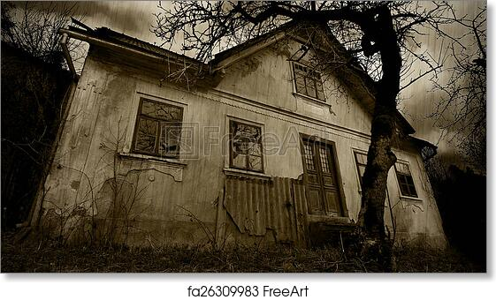 Free art print of Horror - abandoned house at the rain, sepia filter