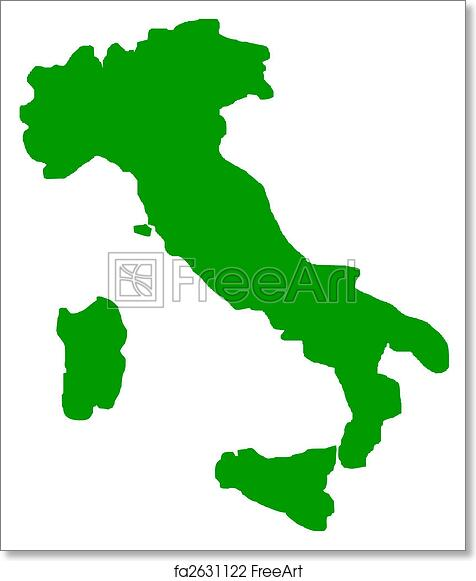 Map Of Italy Outline.Free Art Print Of Italy Map Outline Outline Map Of Italy In Green