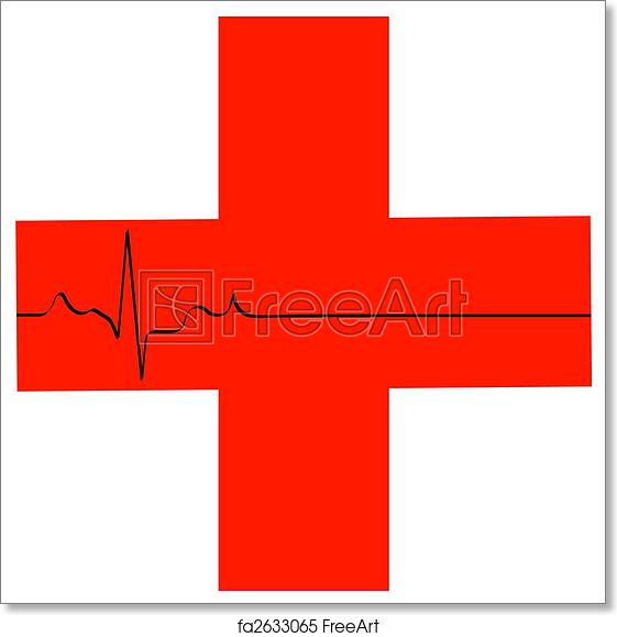 graphic about First Aid Sign Printable referred to as Totally free artwork print of Initial assist brand with flatline middle rhythm