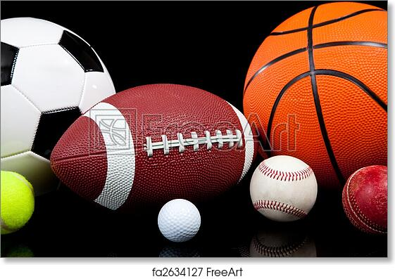 Free Art Print Of Assorted Sports Balls On A Black Background
