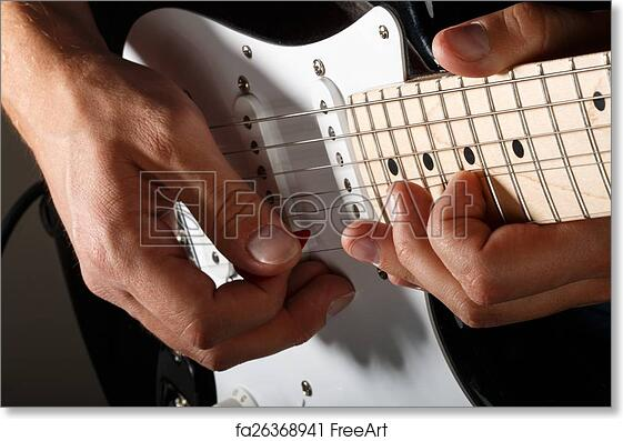 Free Art Print Of Hands Of Man Playing Electric Guitar Closeup