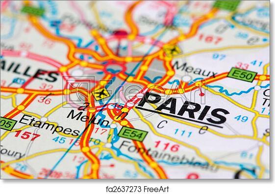 picture regarding Printable Maps of Paris named Cost-free artwork print of Highway map close to Paris