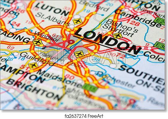 Map Around London.Free Art Print Of Road Map Around London