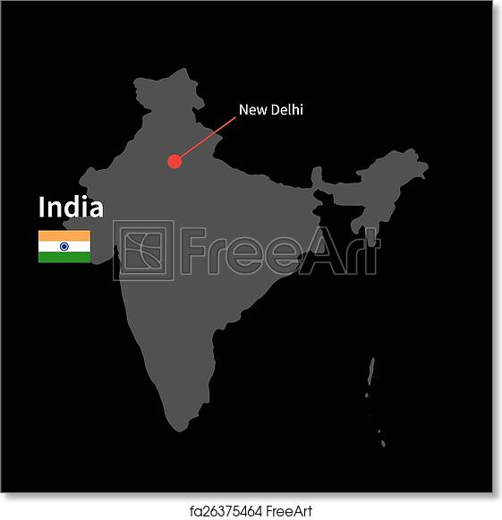 Free art print of Detailed map of India and capital city New Delhi Capital City Of India Map on